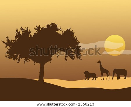 A tree, giraffe, elephant, and lion silhouette with an African sunset in the background - stock vector