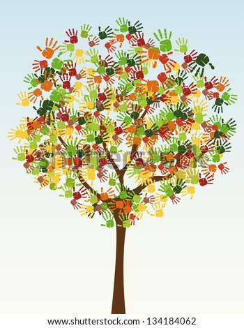 A Tree Of Child Hand Prints Stock Vector Illustration ...