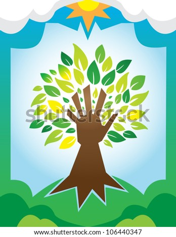 A tree with a hand for a trunk, symbolizing man�s responsibility to the Earth. Simple gradients. EPS/AI8 file.