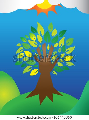 A tree with a hand for a trunk, symbolizing man�s responsibility to the Earth. Simple gradients.