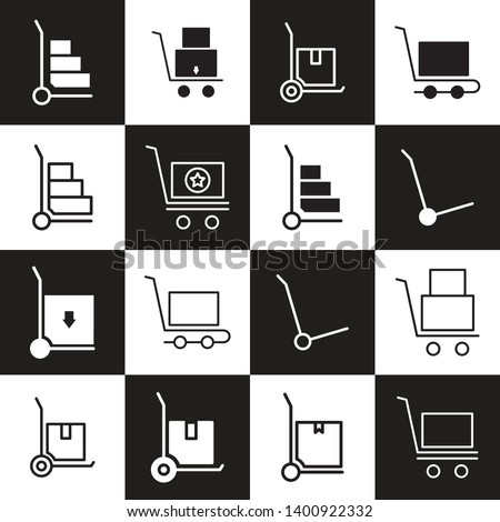 A trolly transporting sealed boxes  package trolly icon