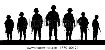 a troops of soldiers silhouette