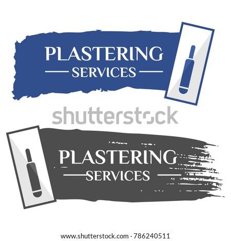 A trowel plastering concrete banner, Vector