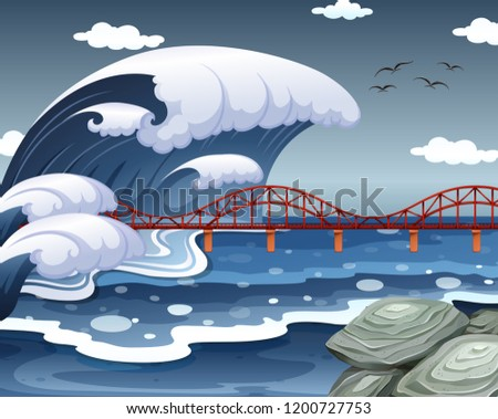 a tsunami hit the ocean bridge