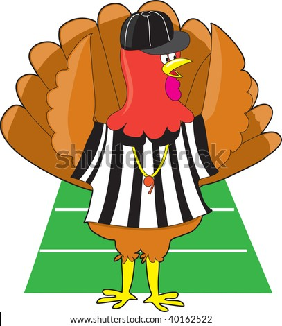 a image of a turkey. stock vector : A turkey dressed as a referee at a football game signaling a