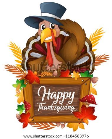 A turkey on autumn icon illustration