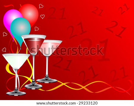 stock vector : A twenty first birthday party vector background template with