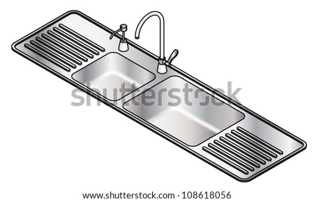 A twin bowl stainless steel kitchen sink with a swivel mixer tap and detergent dispenser.