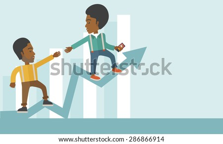 A two african businessmen helping each other in growing business leading to success. Partnership concept. A contemporary style with pastel palette soft blue tinted background. Vector flat design