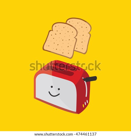 a two breads jump in a Toaster illustration isolated in a yellow background Stock photo ©