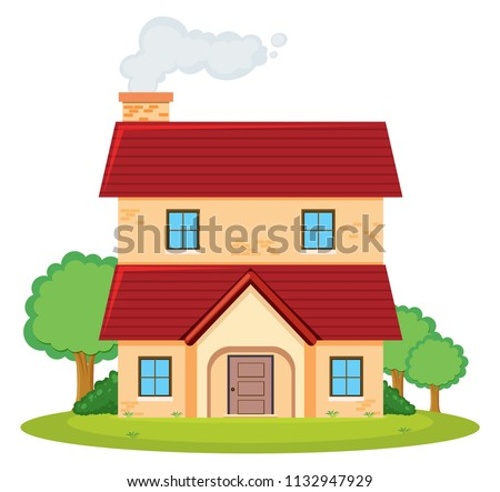a two storey house illustration