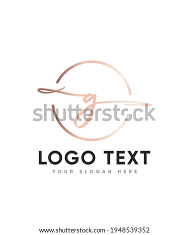 A unique feel and beautiful light handwritten letter type G logo template, Vector logo for business and company identity  Stock fotó ©