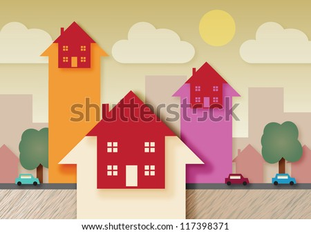 A urban area with arrow heads, symbolizing rising property, tax or mortgage rates.