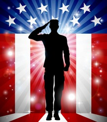 A US soldier saluting in front of an American flag background for Veterans Day