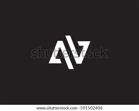 a   v minimal letter logo