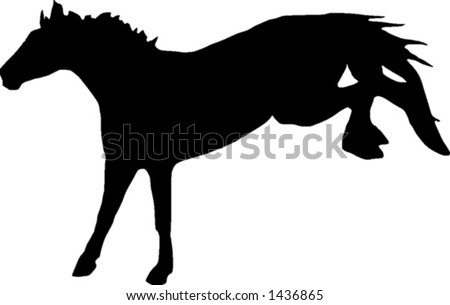 A vactor illustration of the silhouette of a bucking horse