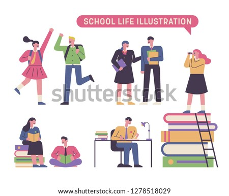 A variety of character sets for students studying hard concept illustration. flat design vector graphic style.