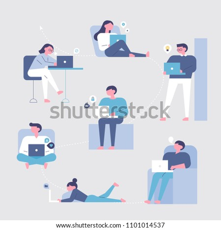 A variety of characters are surfing the Internet on their laptops. flat design style vector graphic illustration set