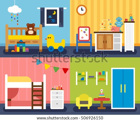 A variety of children's room interior vector illustration flat design