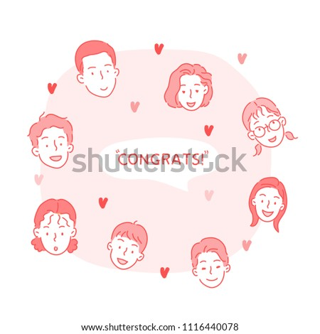A variety of congratulatory faces. hand drawn style vector doodle design illustrations.