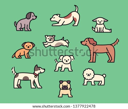 A variety of cute dogs. Outline style character design. flat design style minimal vector illustration