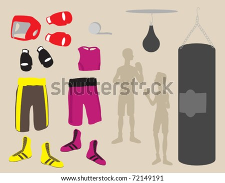 A variety of different boxing equipment.