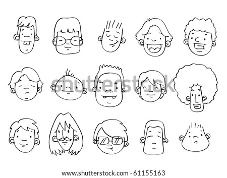 A variety of hand-drawn male heads / faces - VECTOR