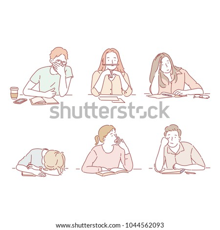 A variety of people who are bored. hand drawn style vector doodle design illustrations.
