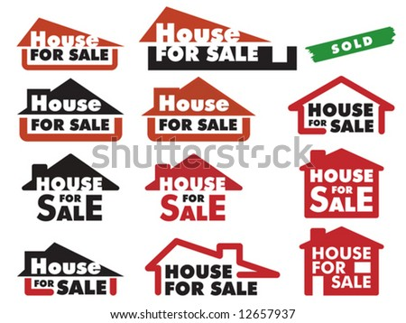 A variety of simple signs for selling house - stock vector
