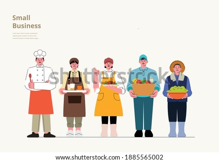 A variety of small business owners. (Chef, Barista, Farmer, Delivery) A Set of people with variety of occupation for Labor Day Concept.