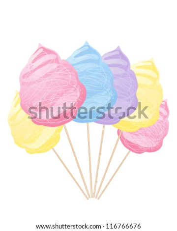 a vector abstract illustration in eps 10 format of a row of colorful blue yellow pink and purple cotton candy on sticks isolated on a white background