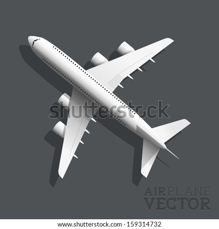 A vector airplane top view. Vector illustration.