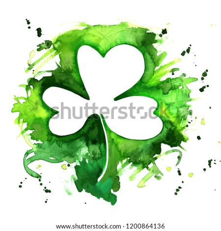 A vector and watercolor drawing of a shamrock, an Irish clover, with a grunge texture and copy space, a design template for a St Patrick's Day greeting card or invitation with a place for text