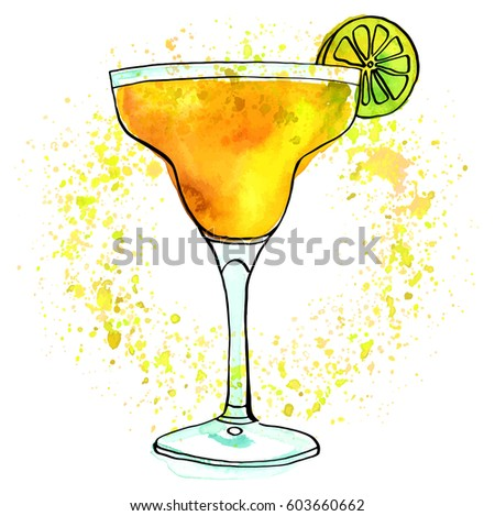 A vector and watercolour drawing of a Margarita cocktail with a slice of lime, a vibrant texture, and copy space