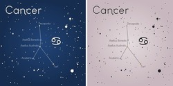 A vector art of the Cancer constellation. The colors of the stars of the constellation's main asterism are true color using scientific data.