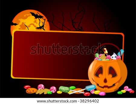 A vector  background of Jack O' Lantern bag full of Halloween treats.