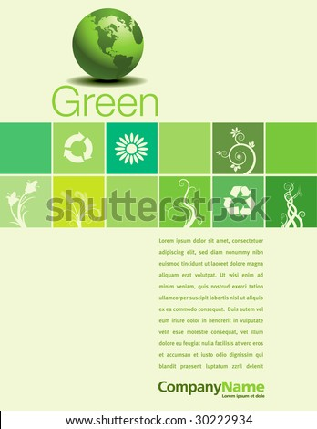 A vector background page design with a green theme