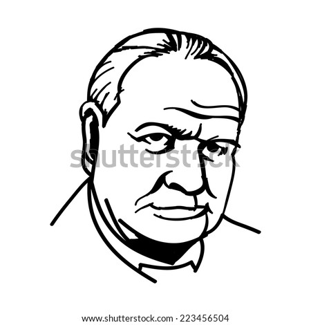A vector, black and white illustration of Sir Winston Churchill