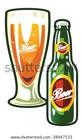 A vector bottle and a glass of beer