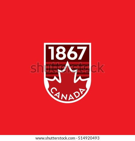Stock Photo A vector Canadian crest featuring a red maple leaf and the year of Canada's confederation.