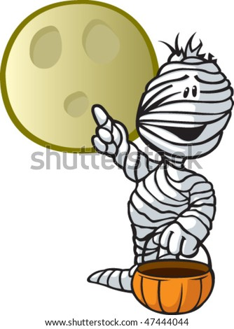 A vector cartoon mummy. Mummy and moon are on separate layers.