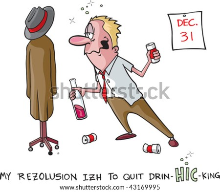 A vector cartoon of a heavy drinker and his New Years resolution to quit. Man, coat rack, cans and calender are all on separate layers.