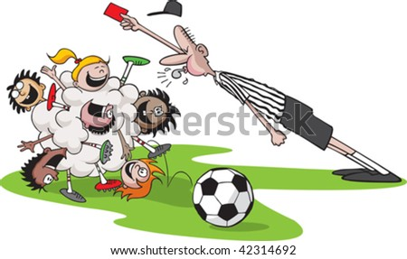 A vector cartoon of kids playing soccer. Kid bunch,referee,ball and grass are all on separate layers. - stock vector