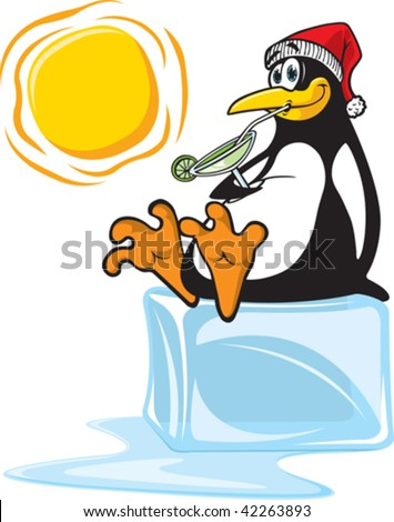 A vector cartoon penguin, sipping on a margarita and sitting on a block of Ice. Layered vector file.