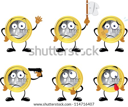 a vector cartoon representing a euro coin in different poses