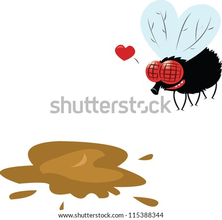 a vector cartoon representing a fly and his new love