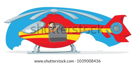 a vector cartoon representing a funny and friendly pilot, wearing some orange headphones, cheering and gesturing from the inside of a landed red and yellow rescue helicopter