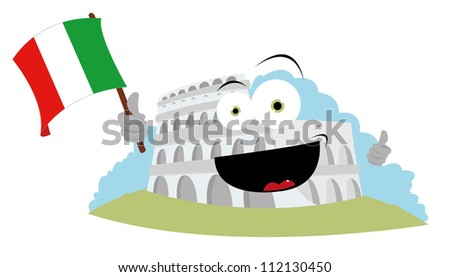 A Vector Cartoon Representing A Funny Colosseum Holding An ...