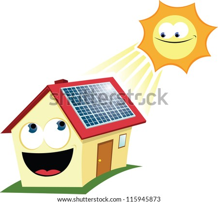 Cartoon Solar Panels With solar panels - stock