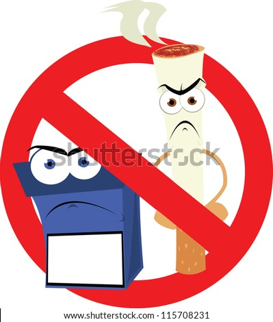 a vector cartoon representing a funny no smoking sign